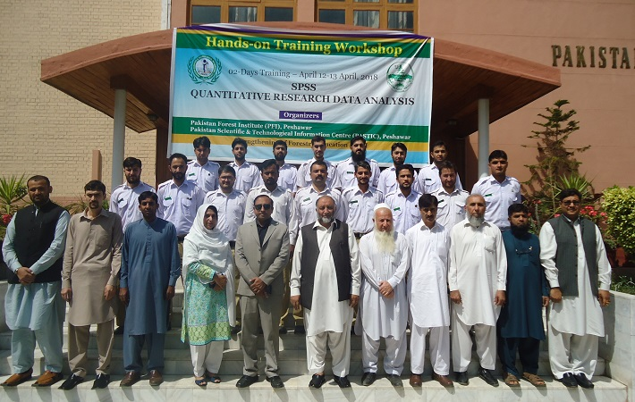 Group Photo of Students and Faculty Members from PFI with Hakim Shah, Director General Pakistan Forest Institute, and Ms. Ghalaza Malik, Deputy Director, PASTIC Sub Center, Peshawar during 2-Days Workshop on Research Tools and Techniques (SPSS), 12-13 April 2018.