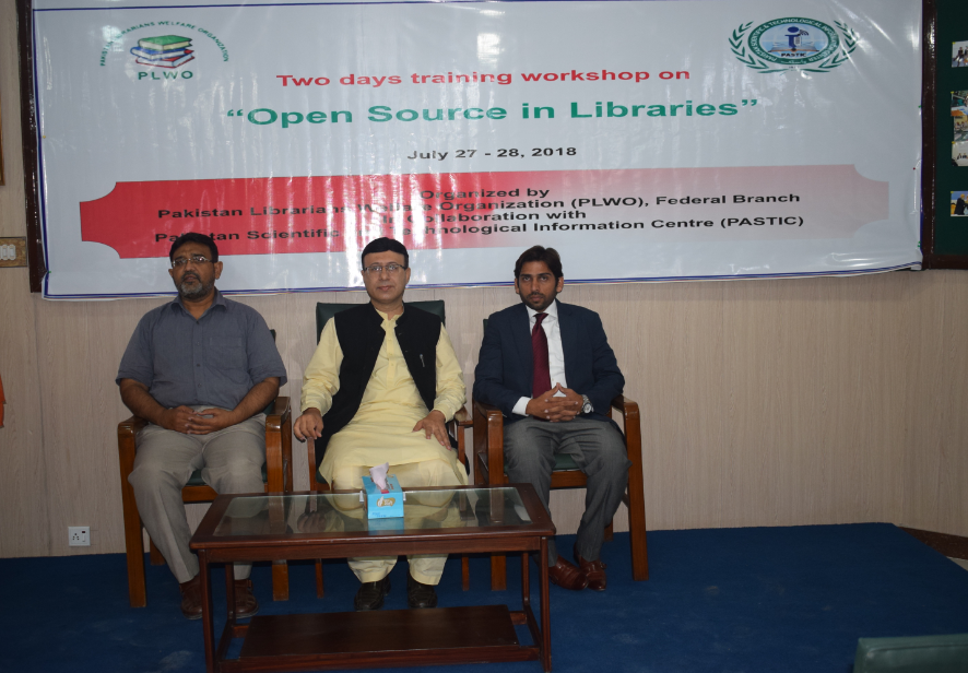 Pakistan Scientific and Technological Information Center (PASTIC) and Pakistan Librarians Welfare Organization (PLWO)-Federal Branch arranged two days training workshop on 'Open Source in Libraries' at PASTIC, Islamabad. (27<sup>th</sup>-28<sup>th</sup> July, 2018)