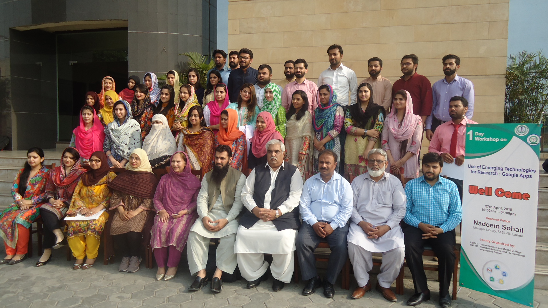 A group photo of participants of workshop, use of Emerging Technologies for Research. Google App