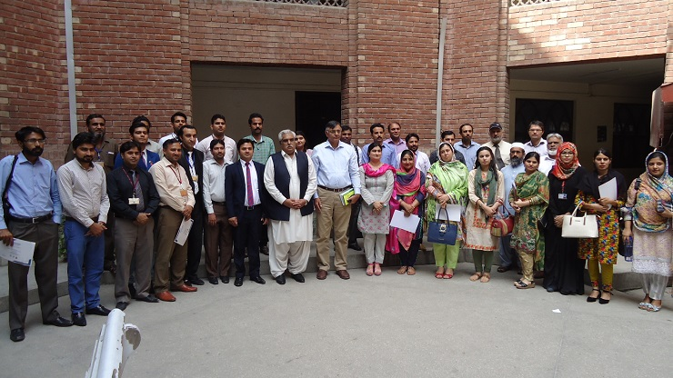 A group photo of participants of workshop, on Citation Management by using Mendeley Software, at GCU. Lahore.