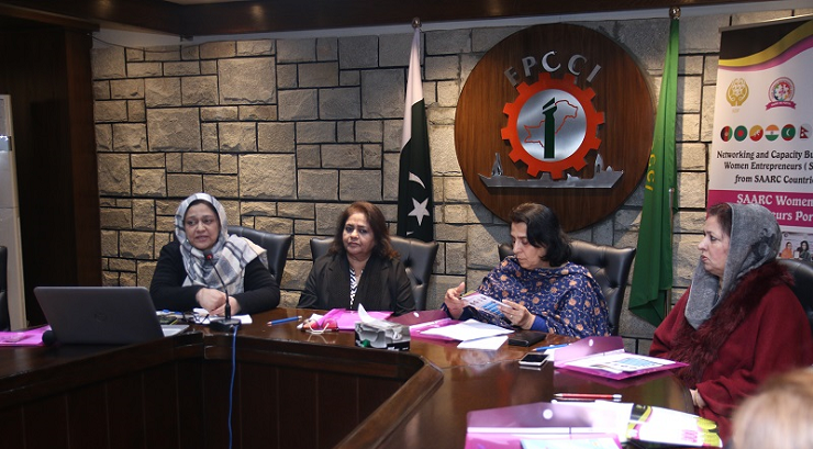 Dr. Saima Tanveer (Project Director, NCBWESC) delivers her speech during Data Collection Seminar at Women SMEs of Federal Region at Islamabad Women Chamber of Commerce and Industries, Islamabad  - 12 Jan. 2019