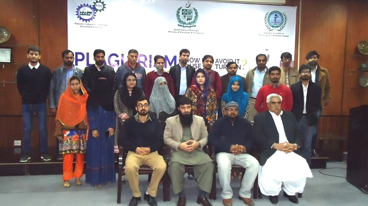 Group photo of participants of workshop on Plagiarism How Do I Avoid It and use of Turnitin at Pakistan Industrial Technical Assistance Centre (PITAC) Lahore.