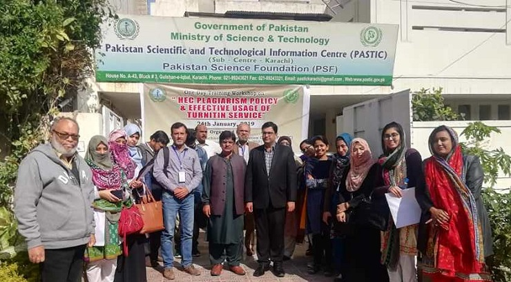 A Group Photo of the Participants during One day training Workshop on 'HEC Plagiarism Policy & Effective Usage of Turnitin Service' at PASTIC Sub Centre Karachi on 24th January 2019