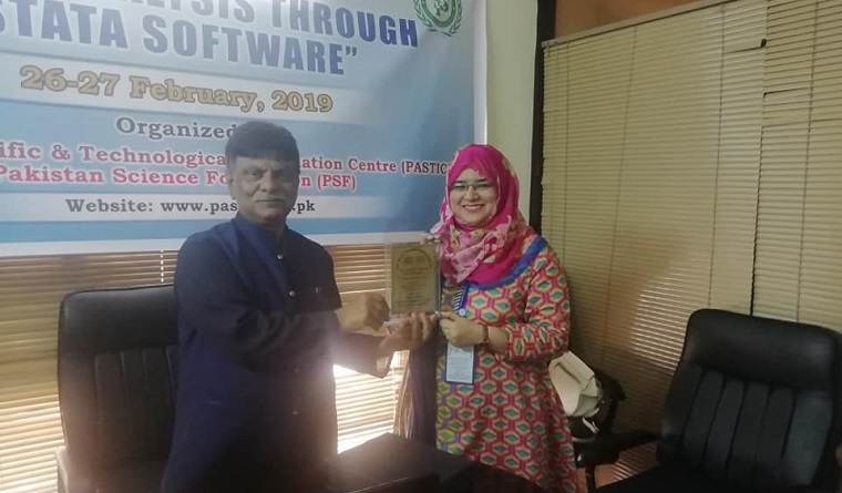 At the closing ceremony of training session, Additional Director (STI) along with Manager (Training) distributing training certificates among the participants